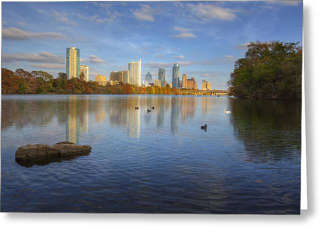 Photos Of Autumn Greeting Cards - Skyline Images of Austin - Autumn from Zilker Park Greeting Card by Rob Greebon