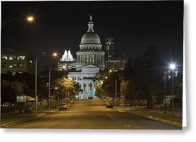 Austin Landmarks Greeting Cards - Austin Images - The Texas State Capitol at Night looking South Greeting Card by Rob Greebon
