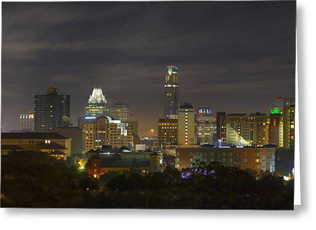 Austin At Night Greeting Cards - Panorama of the Austin Skyline on a September Morning Greeting Card by Rob Greebon