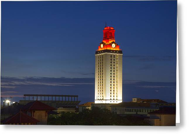Ut Tower Greeting Cards - The University of Texas Tower after a Longhorn Win in Austin Texas Greeting Card by Rob Greebon