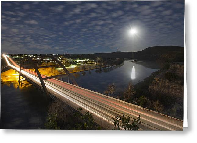 Austin At Night Greeting Cards - Austin images - Full Moon Setting over the 360 Bridge Greeting Card by Rob Greebon