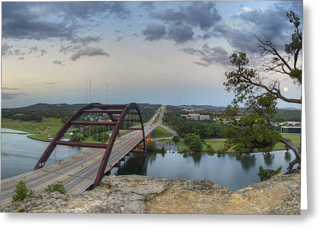 Austin 360 Greeting Cards - Austin Images - Pennybacker Bridge Panorama on a June Sunrise Greeting Card by Rob Greebon