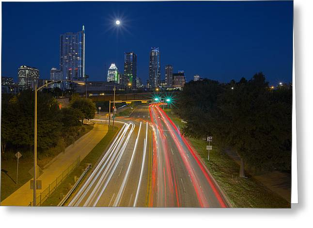 Austin At Night Greeting Cards - Texas Images - The Austin Skyline and City Traffic Greeting Card by Rob Greebon
