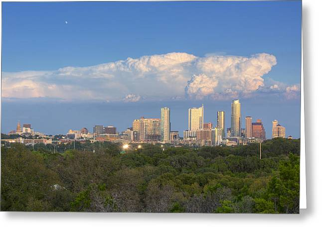 Frost Tower Greeting Cards - Downtown Austin under a Thunderhead Greeting Card by Rob Greebon