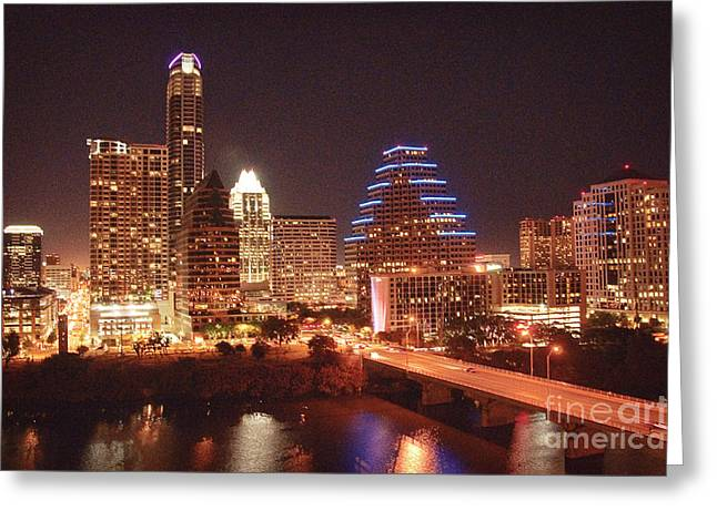 Austin Architecture Greeting Cards - Austin Lights the Night Greeting Card by Terry Rowe