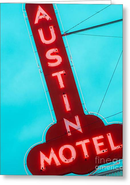 Sonja Quintero Greeting Cards - Austin Motel Sign Greeting Card by Sonja Quintero