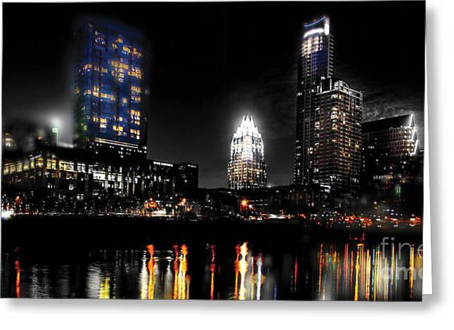 Svetlana Novikova Digital Art Greeting Cards - Austin Night Skyline reflections  Greeting Card by Gary Gibich