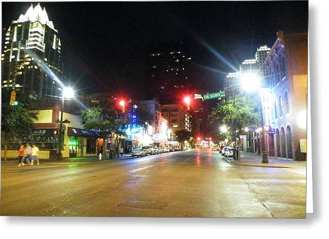 Recently Sold -  - Gypsy Greeting Cards - Austin Nights Sixth Street Lights Greeting Card by The Gypsy And D Kay