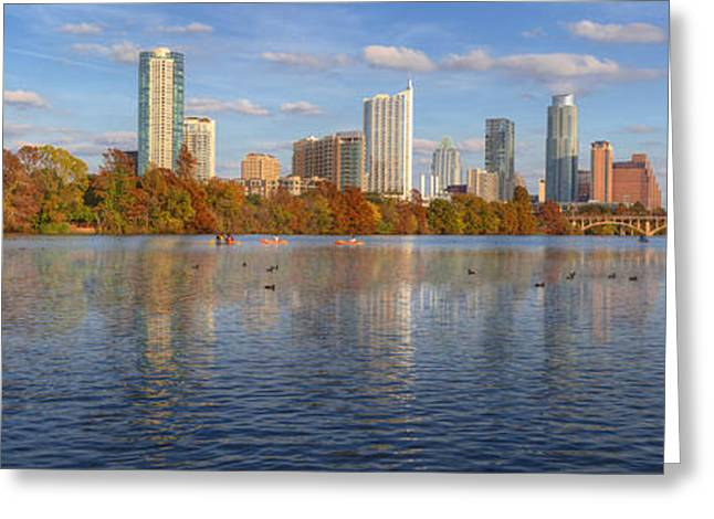 Photos Of Birds Greeting Cards - Panorama Image of the Austin Skyline in Autumn Greeting Card by Rob Greebon