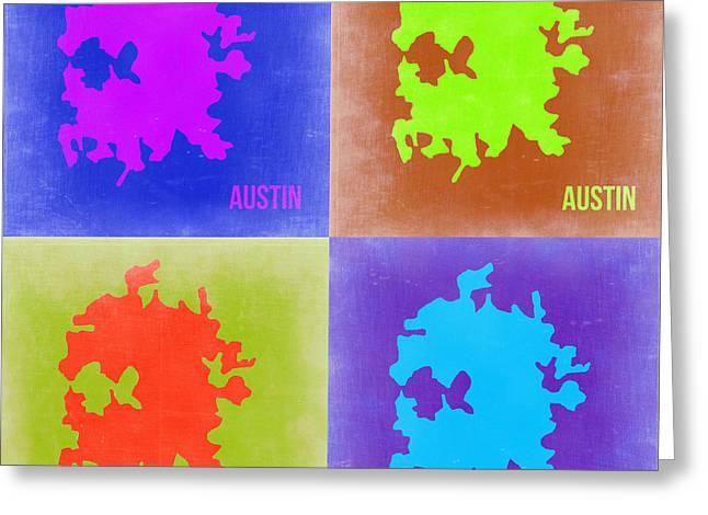 Austin Texas Greeting Cards - Austin Pop Art Map 2 Greeting Card by Naxart Studio
