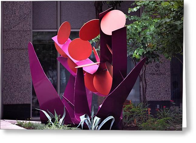 Wall Art Sculptures Greeting Cards - Austin Sidewalk Art Greeting Card by Linda Phelps
