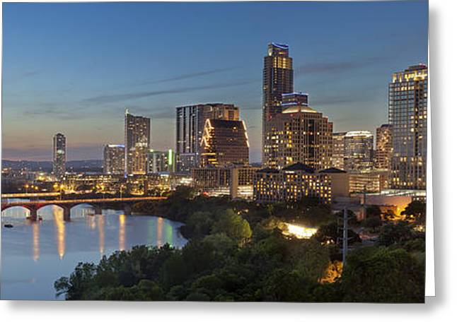 Austin Architecture Greeting Cards - An Evening Skyline Panorama from Austin Texas Greeting Card by Rob Greebon