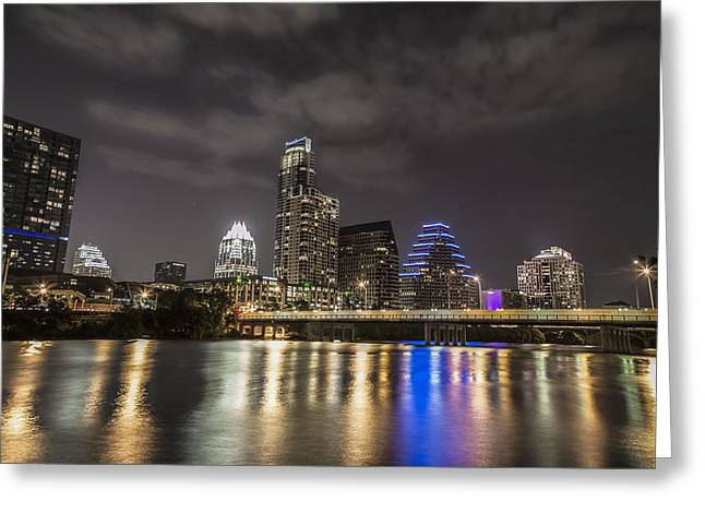 Austin At Night Greeting Cards - Austin Skyline at Night  Greeting Card by John McGraw