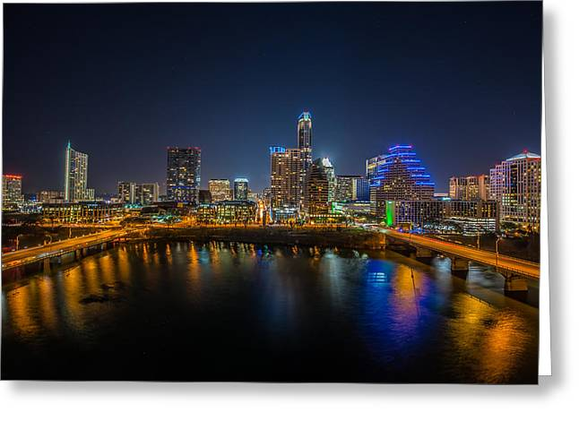Austin At Night Greeting Cards - Austin Skyline at Night Greeting Card by Tod and Cynthia Grubbs
