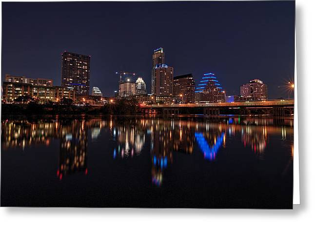 Austin At Night Greeting Cards - Austin Skyline At Night Greeting Card by Todd Aaron