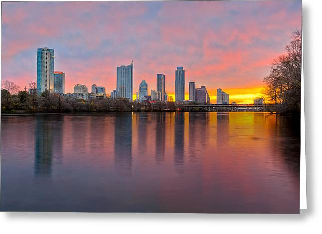 Austin Tx Greeting Cards - Austin Skyline December Sunrise II Greeting Card by Rob Greebon