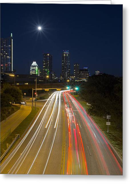 Austin At Night Greeting Cards - Austin Images - Downtown and Caesar Chavez 2 Greeting Card by Rob Greebon
