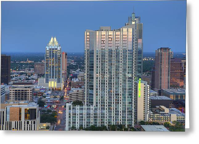 Austin Architecture Greeting Cards - The 360 Condos and Frost Tower in the Austin Skyline Greeting Card by Rob Greebon