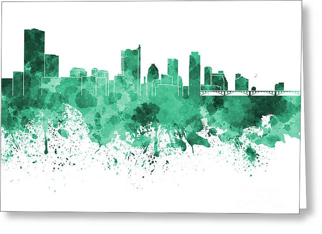 Austin Landmark Greeting Cards - Austin skyline in green watercolor on white background Greeting Card by Pablo Romero