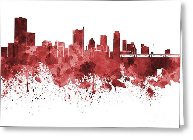 Austin Architecture Greeting Cards - Austin skyline in red watercolor on white background Greeting Card by Pablo Romero