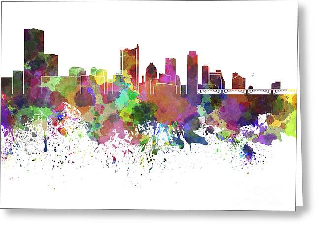 Austin Landmark Greeting Cards - Austin skyline in watercolor on white background Greeting Card by Pablo Romero
