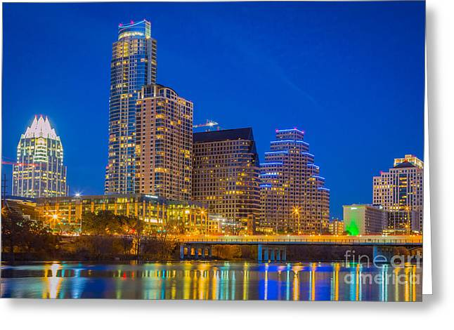 Austin Landmarks Greeting Cards - Austin Skyline Greeting Card by Inge Johnsson