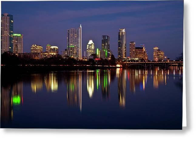 Light Reflections Greeting Cards - Austin Skyline Greeting Card by Mark Weaver