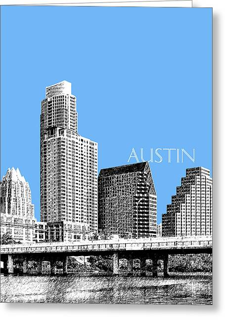 Pen Greeting Cards - Austin Skyline - Sky Blue Greeting Card by DB Artist