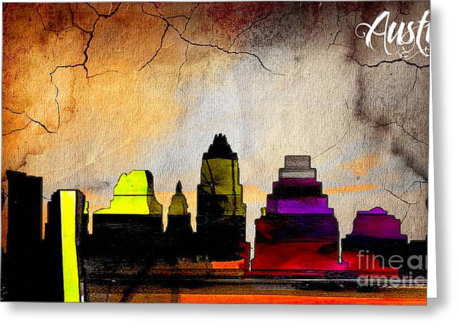 Austin Skyline Watercolor Greeting Card by Marvin Blaine
