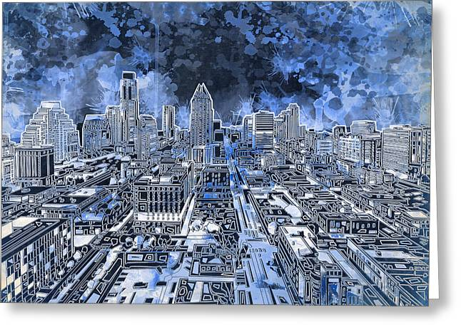 Austin Landmark Greeting Cards - Austin Texas Abstract Panorama 5 Greeting Card by MB Art factory