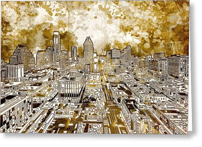 Austin Landmarks Greeting Cards - Austin Texas Abstract Panorama 6 Greeting Card by MB Art factory