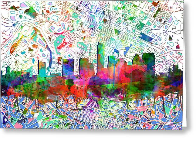 Austin Landmark Greeting Cards - Austin Texas Abstract Panorama 7 Greeting Card by MB Art factory