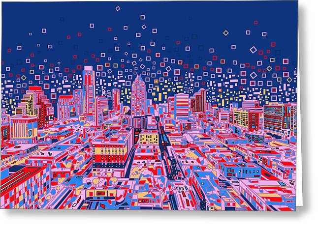 Austin Tx Greeting Cards - Austin Texas Abstract Panorama Greeting Card by MB Art factory