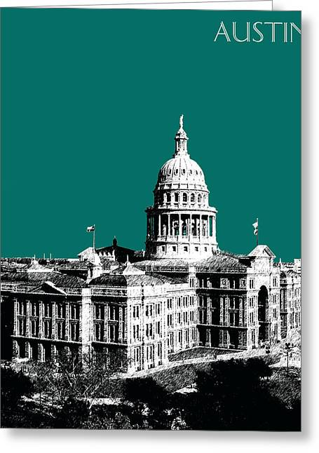 Austin Architecture Greeting Cards - Austin Texas Capital - Sea Green Greeting Card by DB Artist