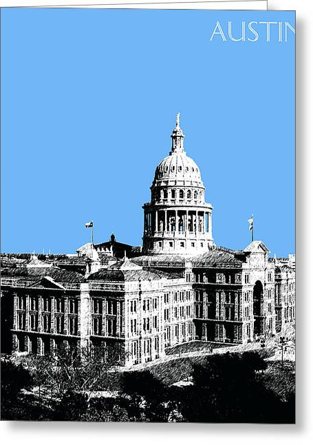 Office Decor Greeting Cards - Austin Texas Capital - Sky Blue Greeting Card by DB Artist