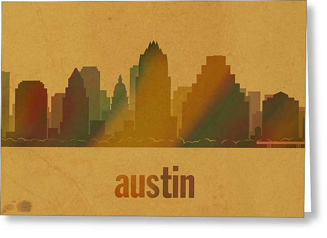 Austin Texas Greeting Cards - Austin Texas City Skyline Watercolor On Parchment Greeting Card by Design Turnpike