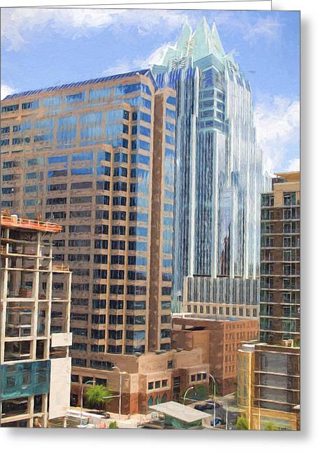 Frost Bank Building Greeting Cards - Austin Texas Downtown Near Frost Bank Greeting Card by JG Thompson