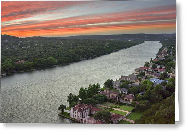 360 Bridge Greeting Cards - Austin Texas Images - Mount Bonnell Evening 1 Greeting Card by Rob Greebon
