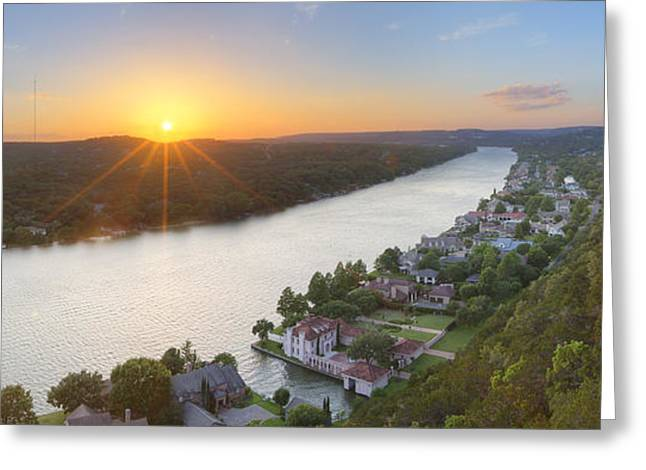 Austin 360 Greeting Cards - Austin Texas Images - Mount Bonnell Panorama - Late May Sunset Greeting Card by Rob Greebon