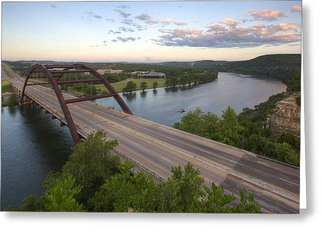 Austin Tx Greeting Cards - Austin Texas Images - Pennybacer Bridge and the Texas Hill Count Greeting Card by Rob Greebon