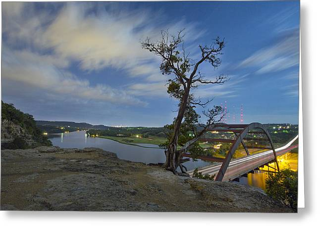 Austin 360 Greeting Cards - Austin Texas Images - The 360 Bridge and the Austin Skyline Unde Greeting Card by Rob Greebon