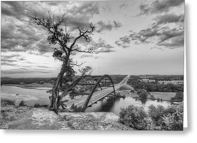 Austin 360 Greeting Cards - Austin Texas Images - The 360 Bridge on a Summer Morning 2 Black Greeting Card by Rob Greebon