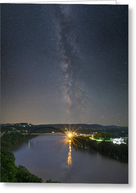 Austin 360 Greeting Cards - The 360 Bridge and Austin Skyline under the Milky Way Greeting Card by Rob Greebon