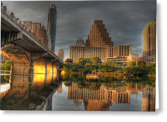 Austin At Night Greeting Cards - Austin Skyline Greeting Card by Jane Linders