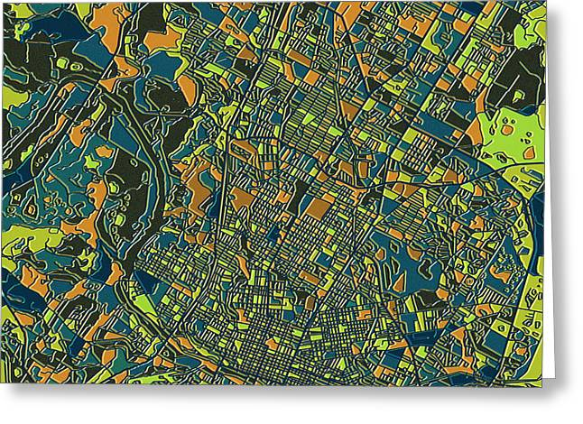 Austin Tx Greeting Cards - Austin Texas Map 2 Greeting Card by MB Art factory