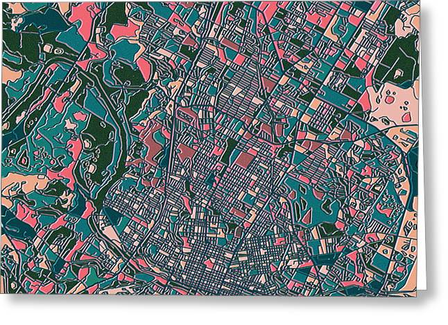 Austin Tx Greeting Cards - Austin Texas Map Greeting Card by MB Art factory