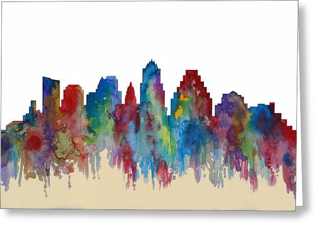 Austin Mixed Media Greeting Cards - Austin Texas Panoramic View Greeting Card by Dan Haraga