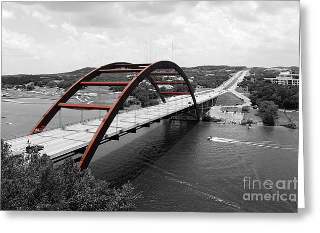 Travelpixpro Greeting Cards - Austin Texas Pennybacker 360 Bridge Color Splash Black and White Greeting Card by Shawn O