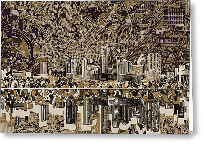 Austin Building Greeting Cards - Austin Texas Skyline 5 Greeting Card by MB Art factory