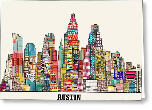 Austin Mixed Media Greeting Cards - Austin texas skyline Greeting Card by Bri Buckley